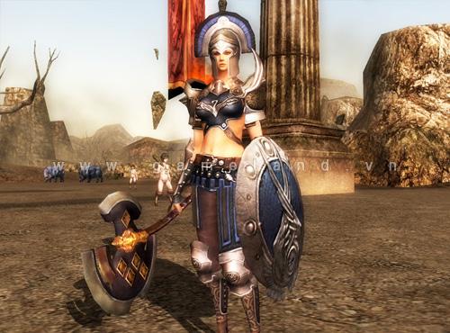 Hình ảnh nhân vật chiến binh cấp 40 trong Troy Online