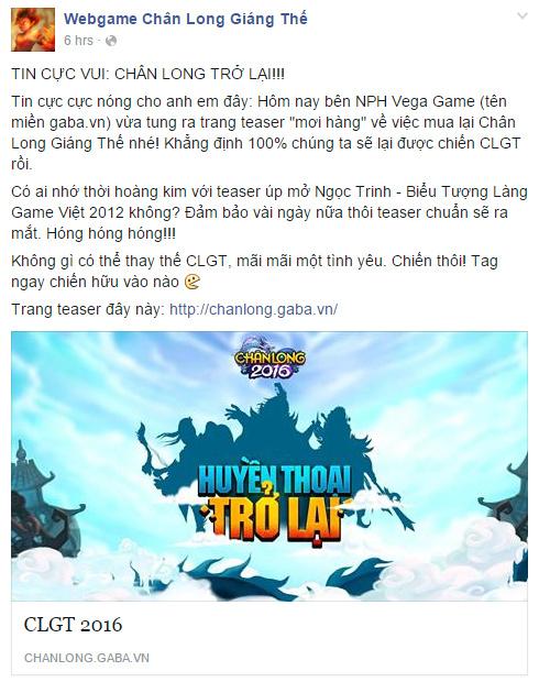 Vega Game đưa webgame Chân Long Giáng Thế trở lại