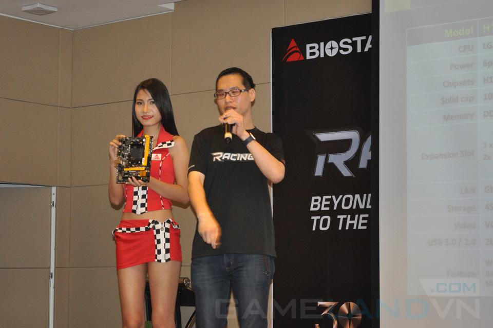 Đại diện Biostar giới thiệu các tính năng nổi bật của hai dòng bo mạch chủ Racing và Pro.