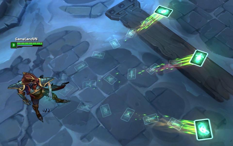 Cập nhật lại hiệu ứng kĩ năng của Twisted Fate Âm Phủ (Underworld Twisted Fate) khi sử dụng đòn đánh thường và Q.