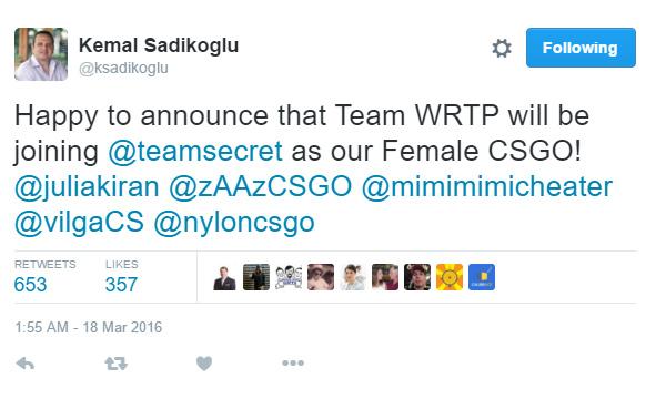 Giám đốc của Team Secret xác nhận trên Twitter