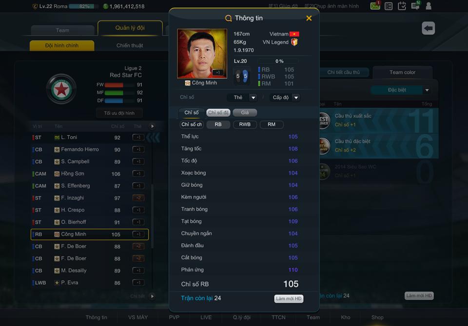 Chỉ số của danh thủ Công Minh trong FIFA Online 3.