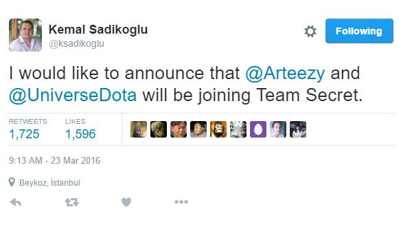 Thông báo xác nhận Arteezy và Universe gia nhập Team Secret từ quản lý của đội tuyển này.