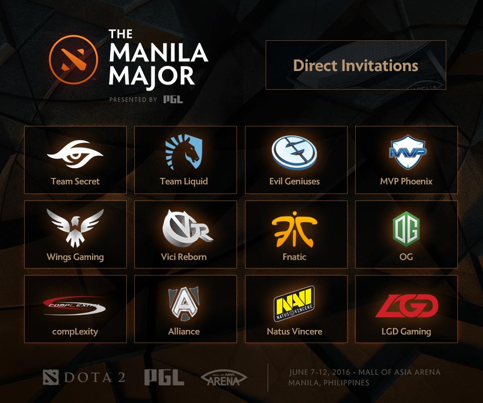Danh sách 12 đội nhận vé mời tham dự The Manila Major 2016. Ảnh: Wykrhm Reddy.