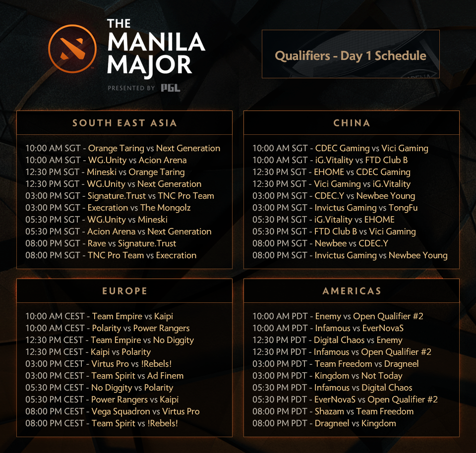 Lịch thi đấu vòng bảng vòng loại khu vực The Manila Major 2016. Ảnh: