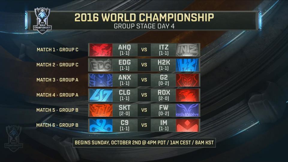 Lịch thi đấu vòng bảng Chung Kết Thế Giới 2016 ngày 4