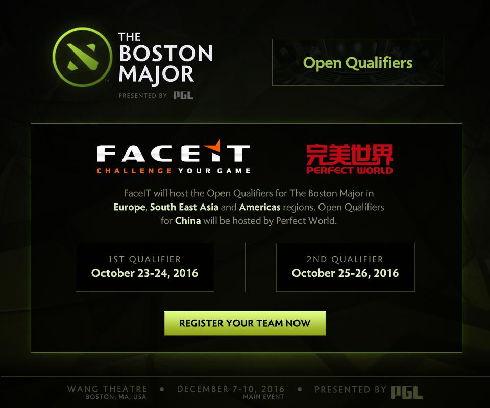 Thời gian và đơn vị tổ chức vòng loại mở rộng của The Boston Major 2016.