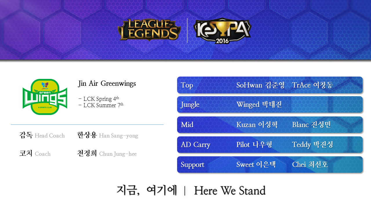 LoL KeSPA Cup 2016 Jin Air Greenwings