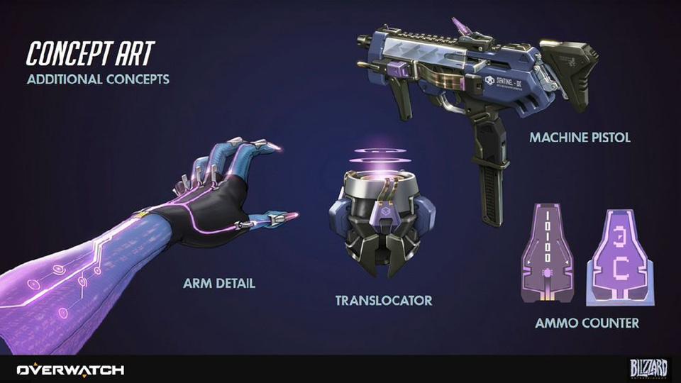 Phác thảo kĩ năng và vũ khí của Sombra.