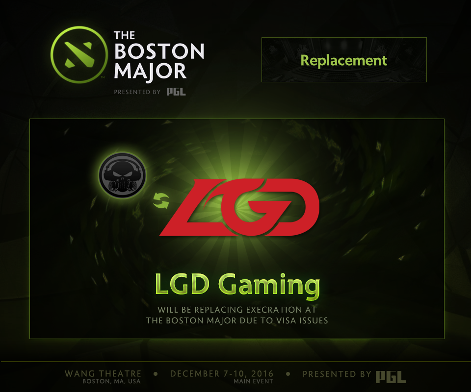 LGD Gaming thay thế Execration tham dự The Boston Major 2016