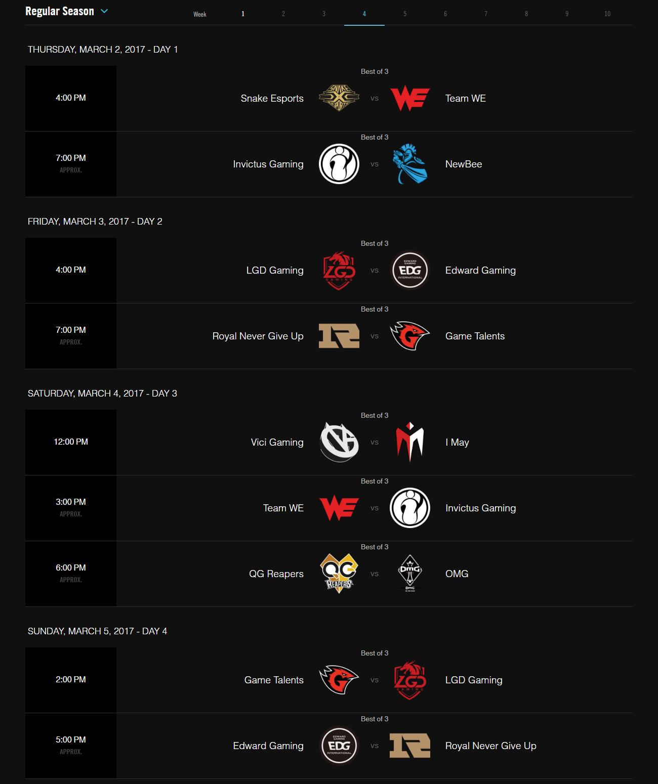 Lịch thi đấu vòng bảng LPL Mùa Xuân