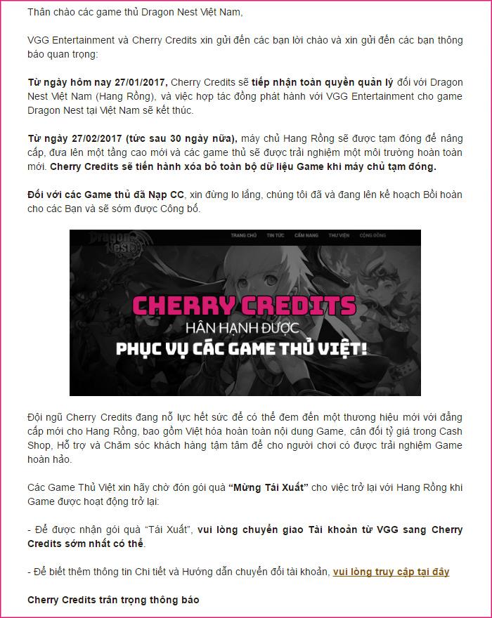 Cherry Credits bất ngờ tiếp quản Dragon Nest Việt Nam, đổi tên thành Hang Rồng