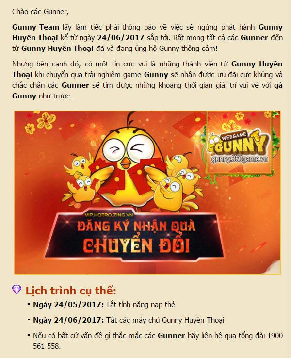 VNG thông báo đóng cửa Gunny Huyền Thoại