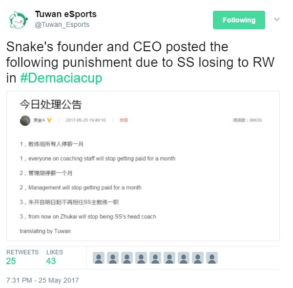 CEO Snake nổi khùng vì thất bại tại Demacia Cup 2017 - Ảnh 1