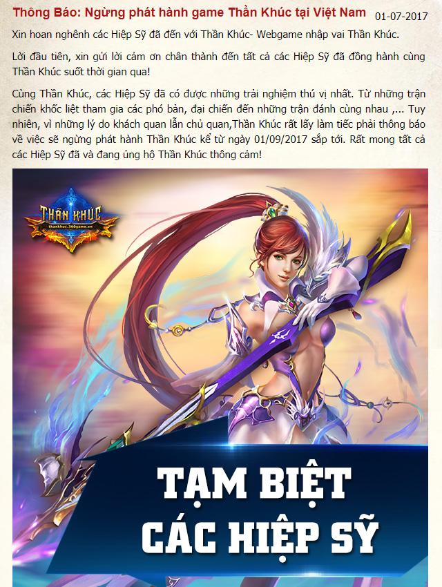 VNG đóng cửa webgame Thần Khúc vào ngày 1/9