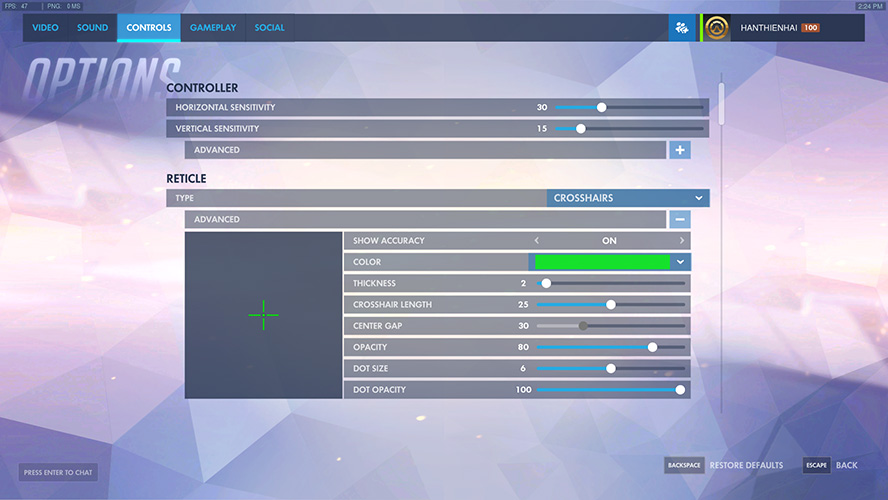 Reticle Options Overwatch