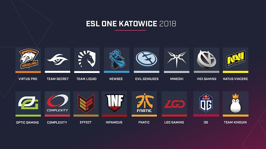 Danh sách các đội tuyển tham dự ESL One Katowice 2018