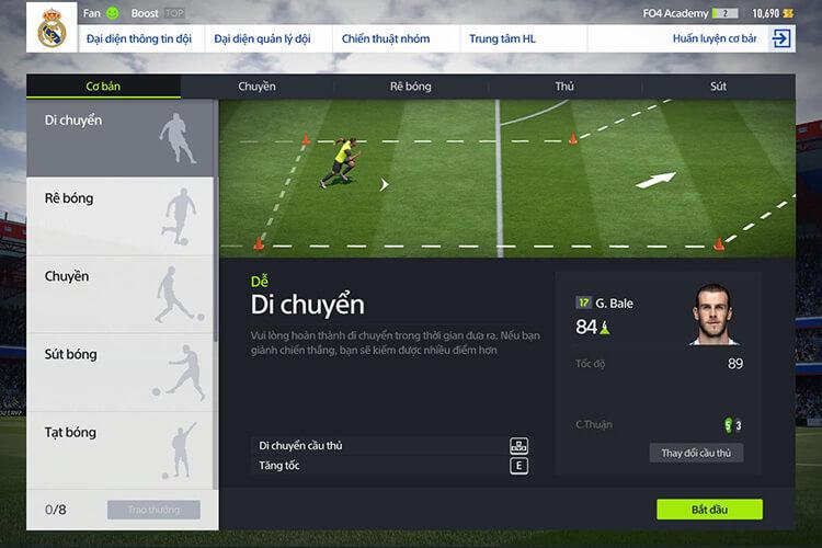 Chế độ luyện tập trong FIFA Online 4