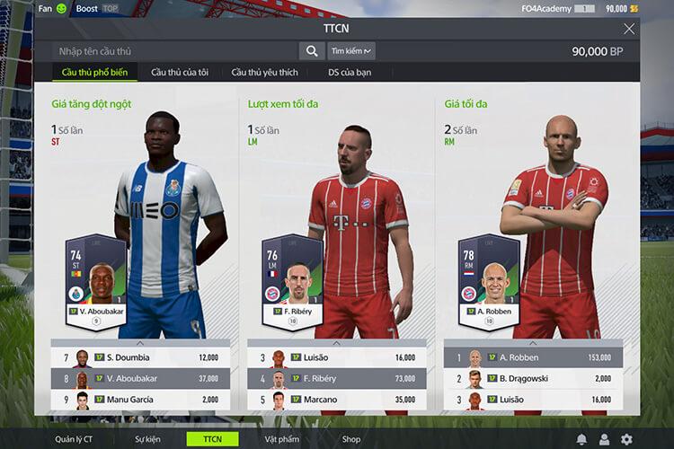 Thị trường chuyển nhượng trong FIFA Online 4