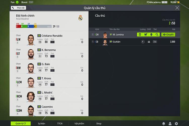 Thiết lập quản lý cầu thủ trong FIFA Online 4