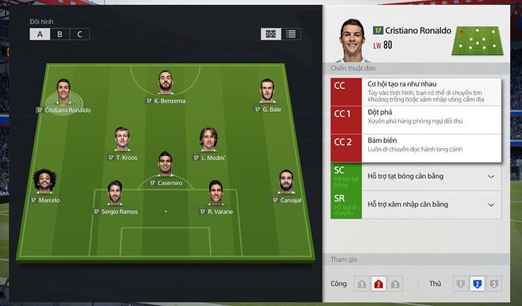Sắp xếp đội hình trong FIFA Online 4