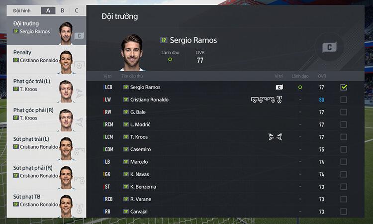 Thiết lập vai trò của cầu thủ trong FIFA Online 4
