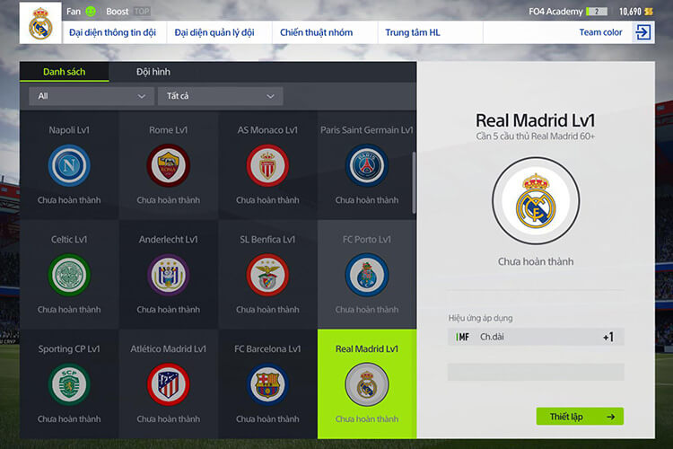 Team color trong FIFA Online 4