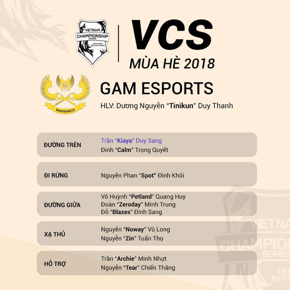 Đội hình tham dự VCS Mùa Hè 2018 của GAM Esports