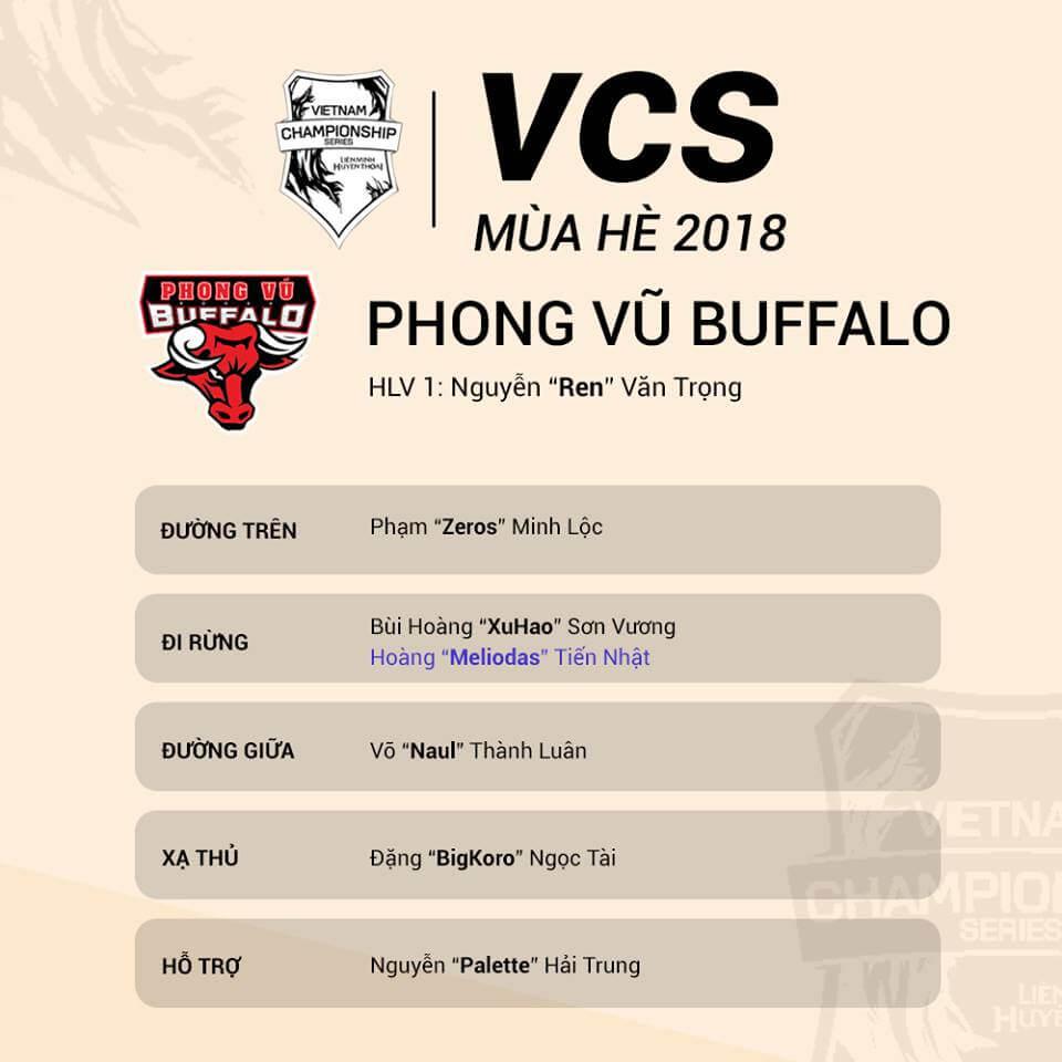 Đội hình tham dự VCS Mùa Hè 2018 của Cube Adonis