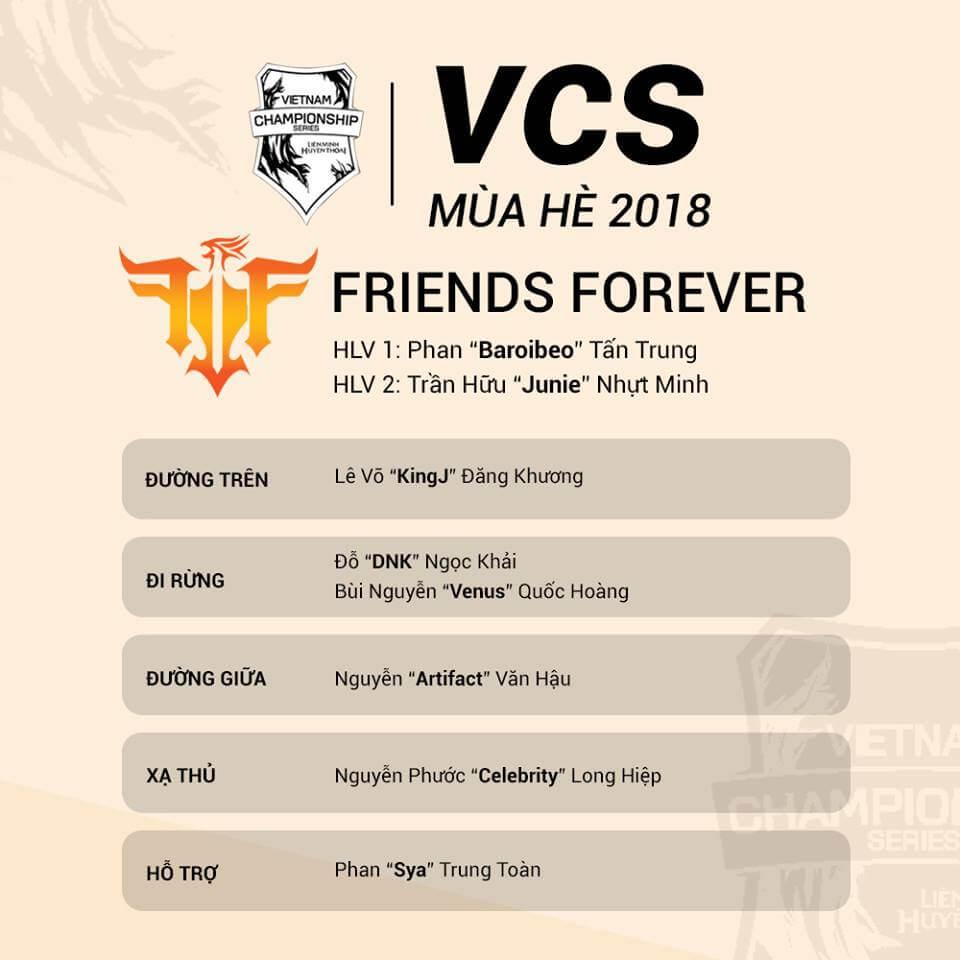 Đội hình tham dự VCS Mùa Hè 2018 của Friends Forever