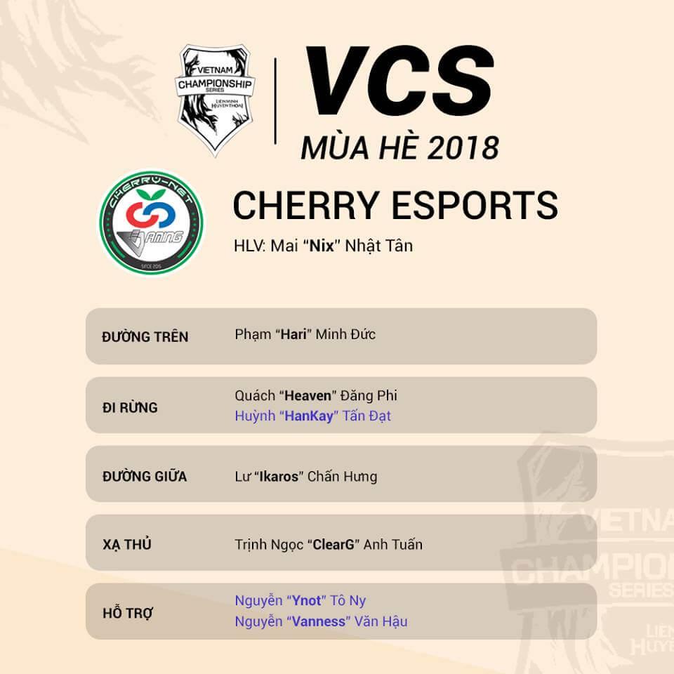 Đội hình tham dự VCS Mùa Hè 2018 của Cherry Esports