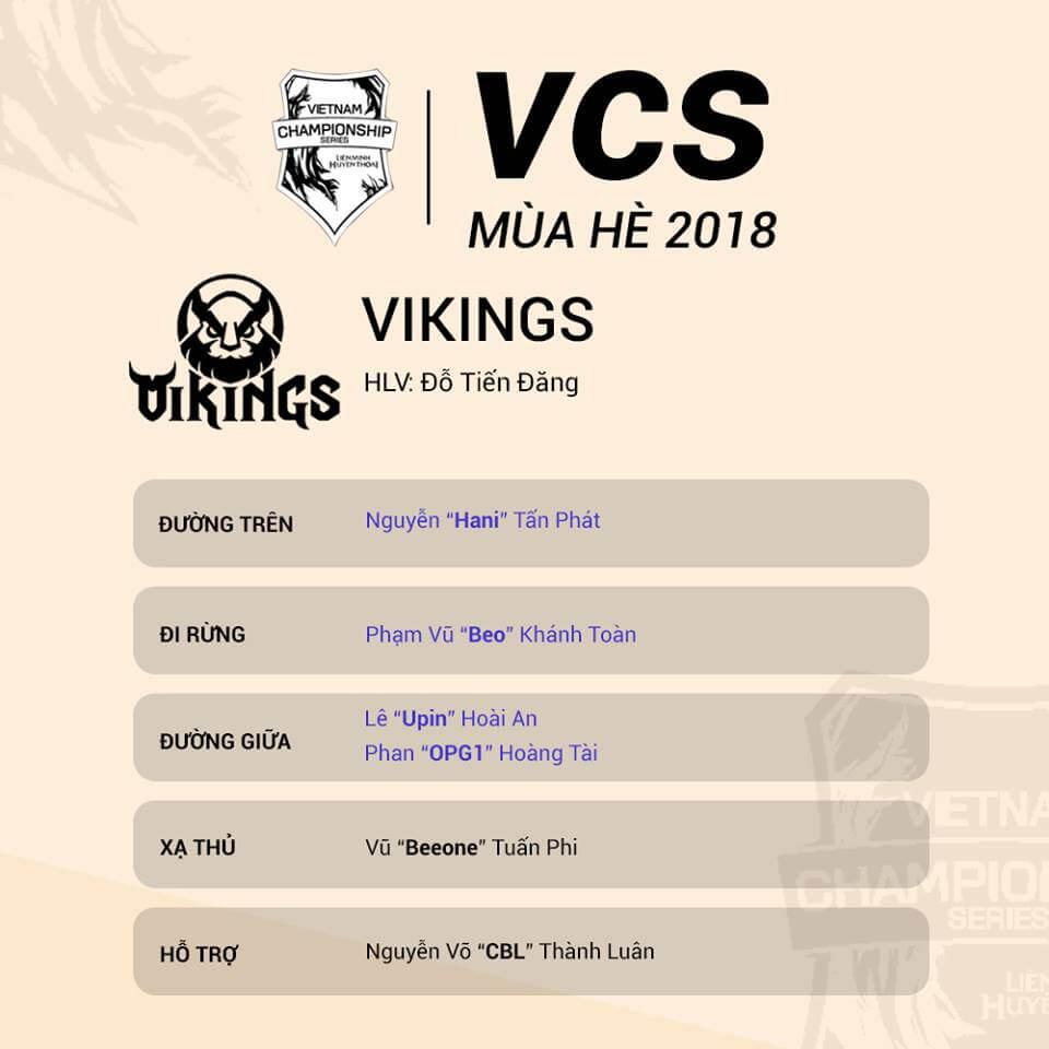 Đội hình tham dự VCS Mùa Hè 2018 của Vikings Gaming