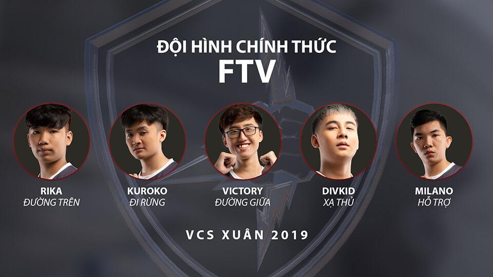 Đội hình FTV Esports tại VCS Mùa Xuân 2018
