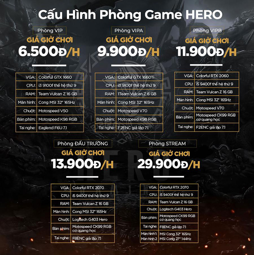 Bảng giá của HERO Esports Center Coffee Lounge