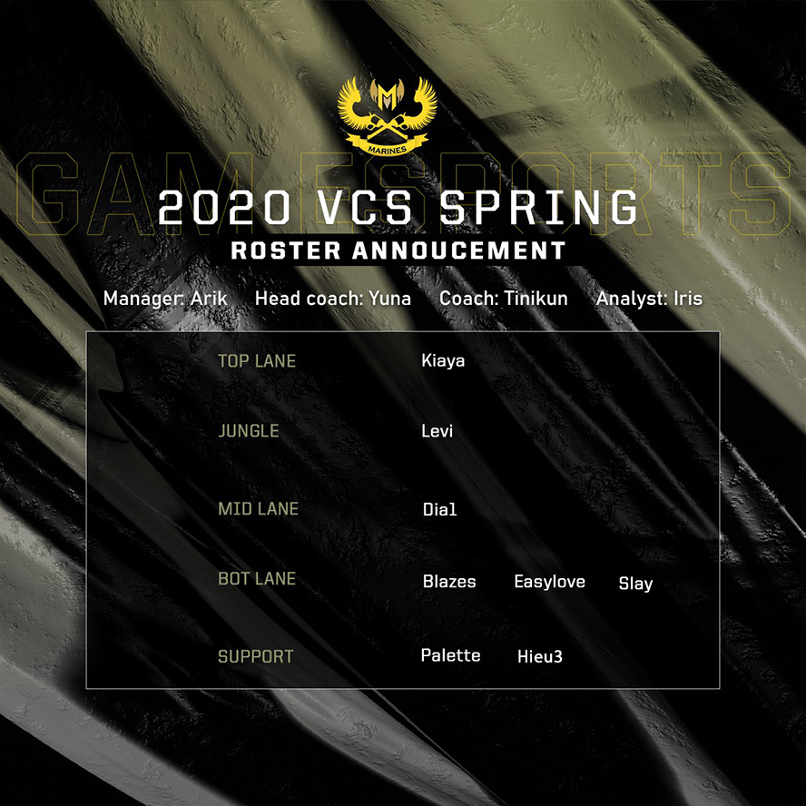GAM Esports công bố đội hình dự VCS Mùa Xuân 2020