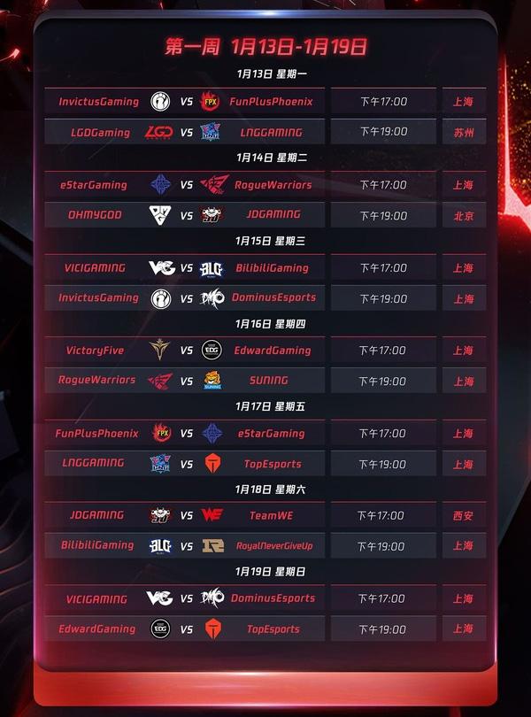 Lịch thi đấu LPL Mùa Xuân 2020 - Tuần 1