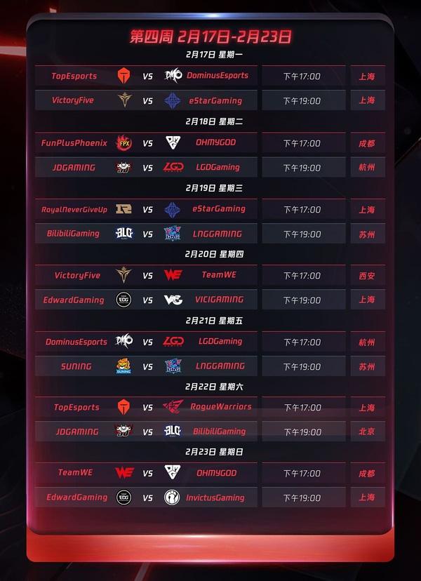 Lịch thi đấu LPL Mùa Xuân 2020 - Tuần 4