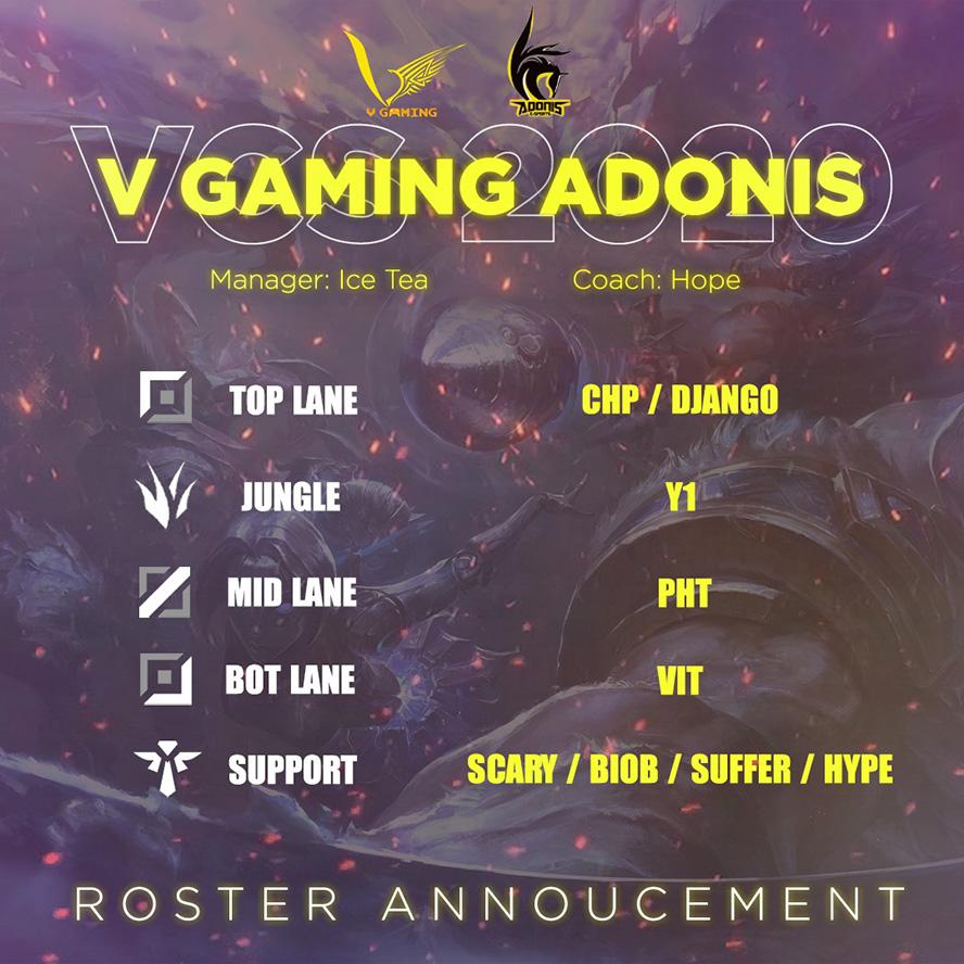 Adonis Esports đổi tên thành V Gaming Adonis