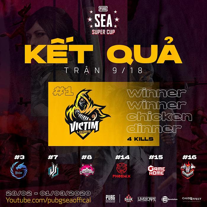 Kết quả thi đấu trận 09/18 PUBG SEA Super Cup 2020