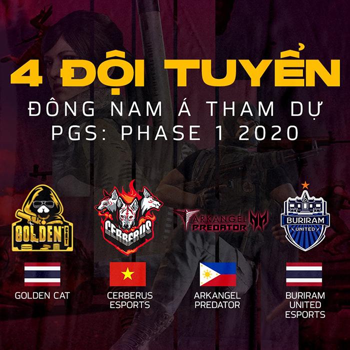 Danh sách bốn đội tuyển đại diện khu vực Đông Nam Á tham dự PGS: Phase 1 2020