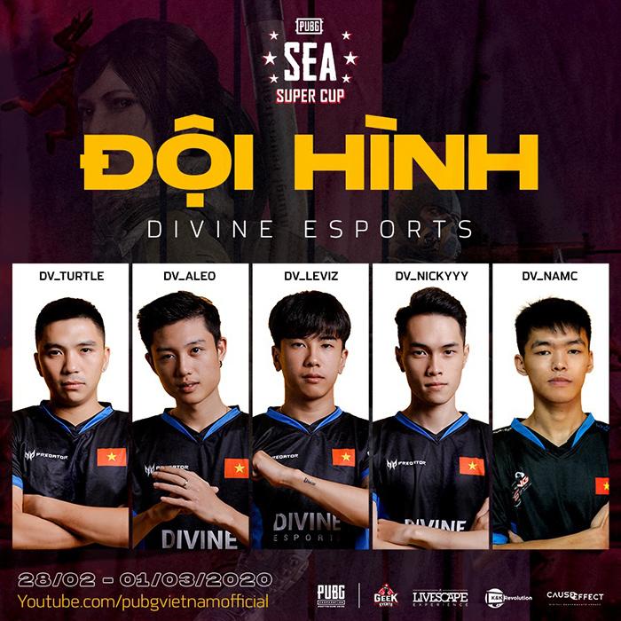 Đội hình tham dự PUBG SEA Super Cup của Divine Esports