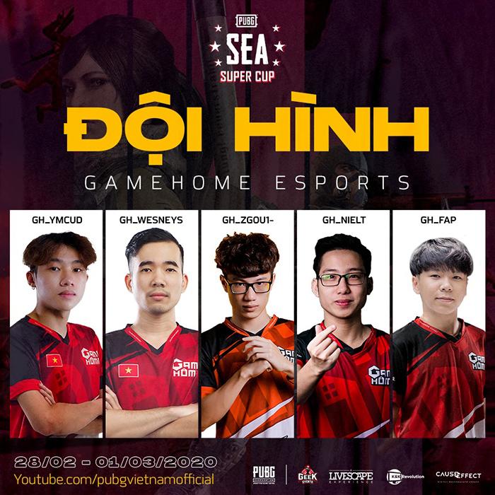 Đội hình tham dự PUBG SEA Super Cup của GameHome Esports