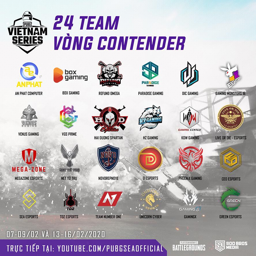 Các đội tuyển tham dự Contender Stage PVS Spring 2020