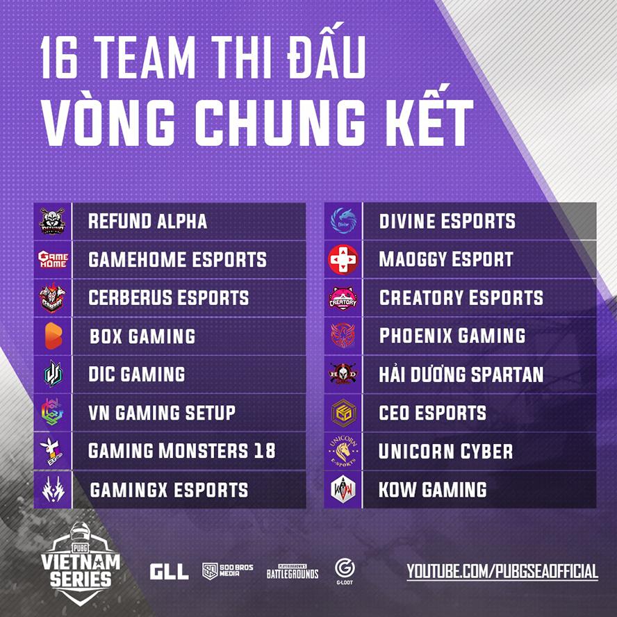 Danh sách 16 đội tuyển tham dự vòng chung kết PVS Spring 2020