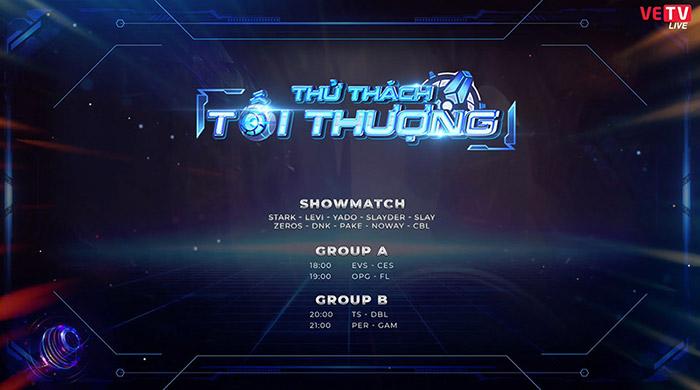 Đội hình thi đấu trận showmatch tại Thử Thách Tối Thượng 2020.