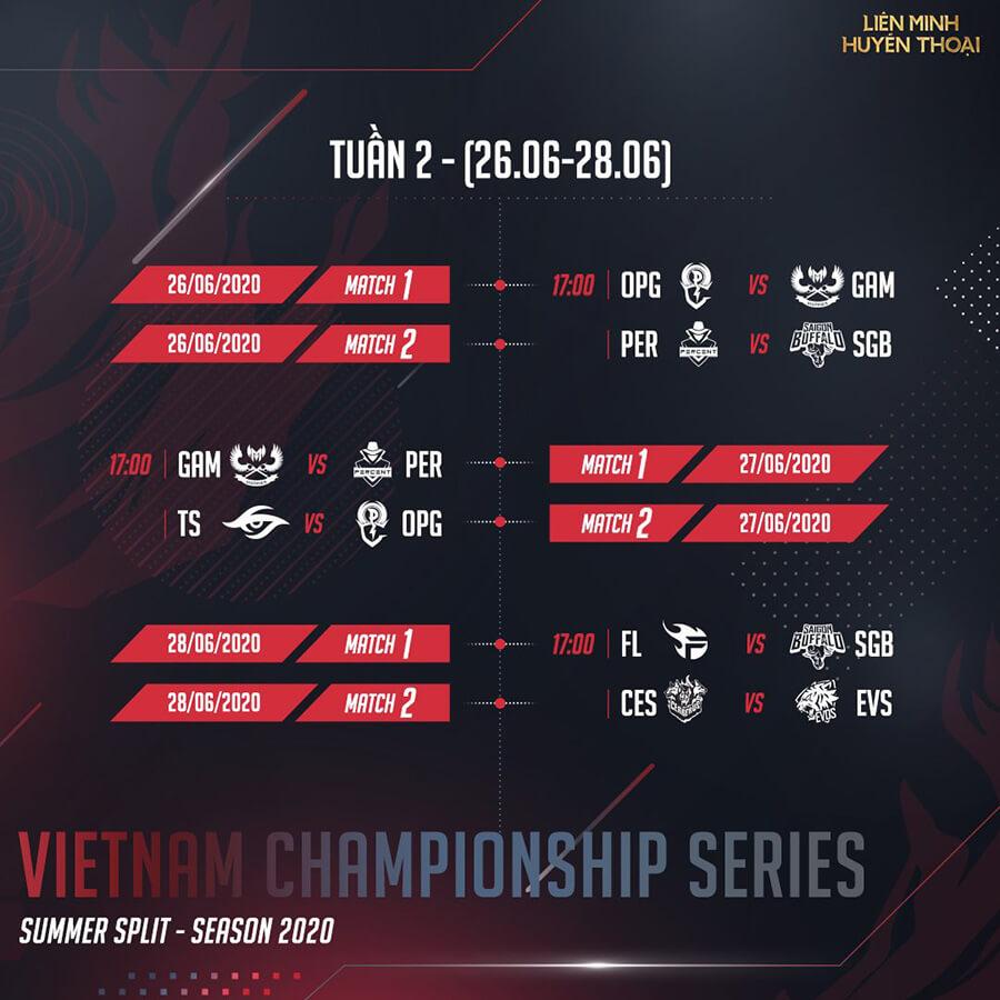 Lịch thi đấu vòng bảng VCS Mùa Hè 2020 Tuần 2