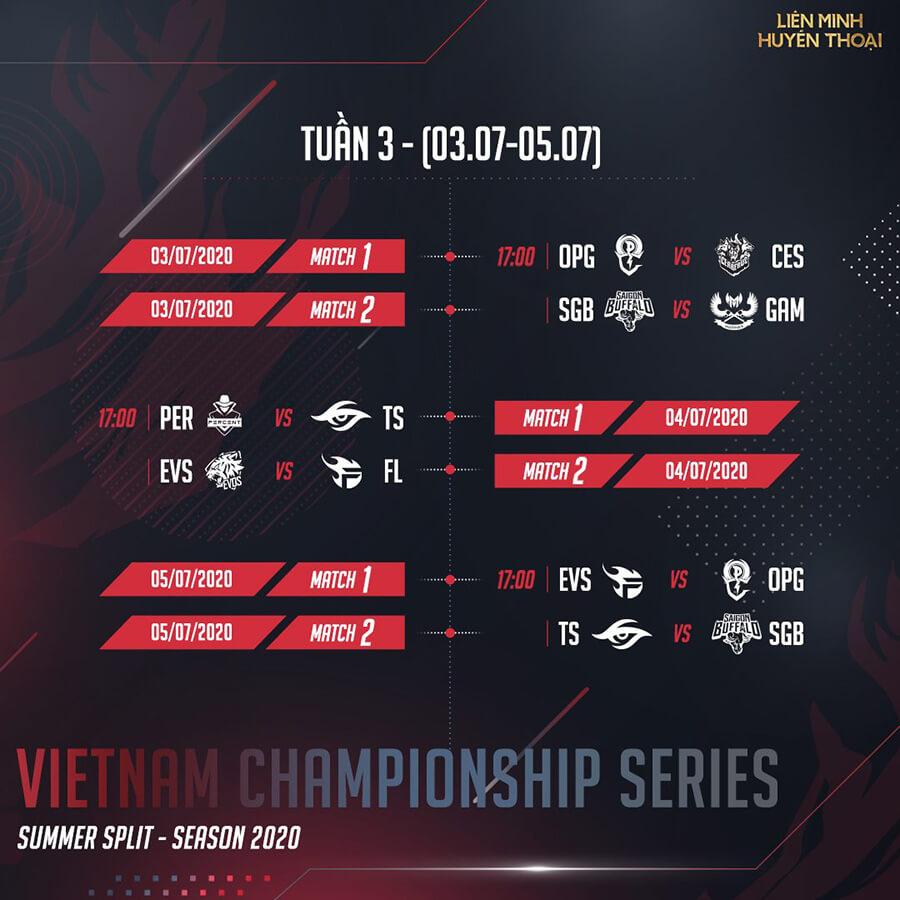 Lịch thi đấu vòng bảng VCS Mùa Hè 2020 Tuần 3