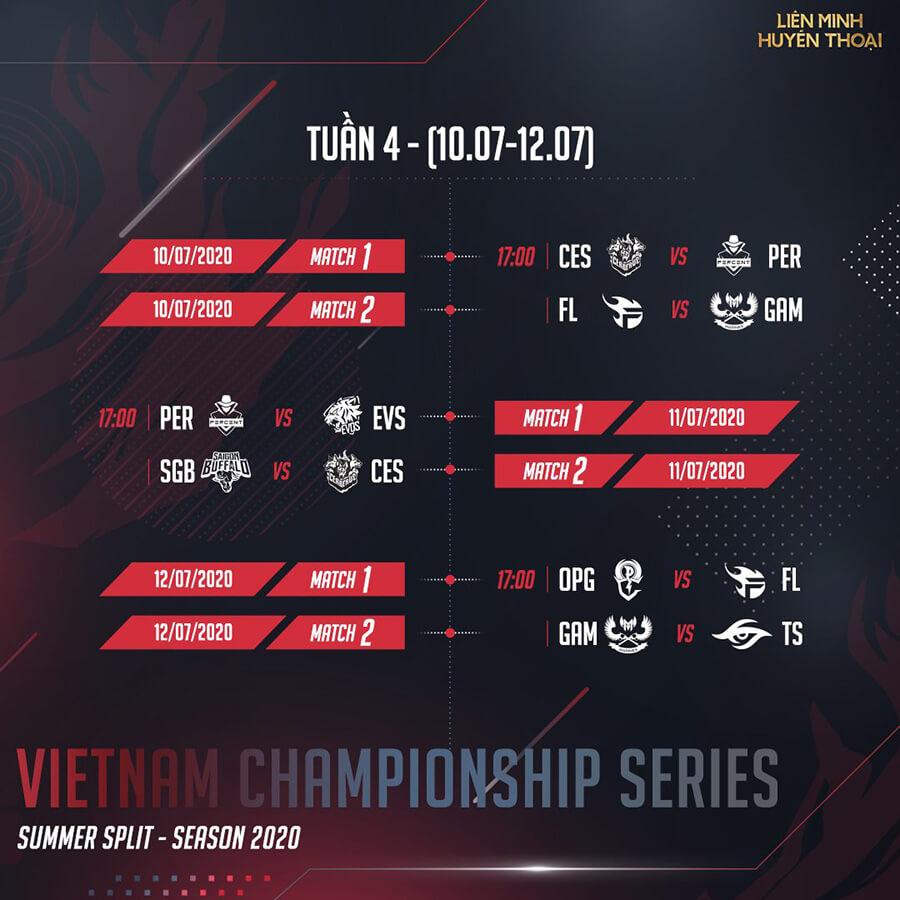 Lịch thi đấu vòng bảng VCS Mùa Hè 2020 Tuần 4