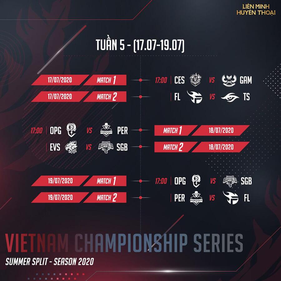 Lịch thi đấu vòng bảng VCS Mùa Hè 2020 Tuần 5