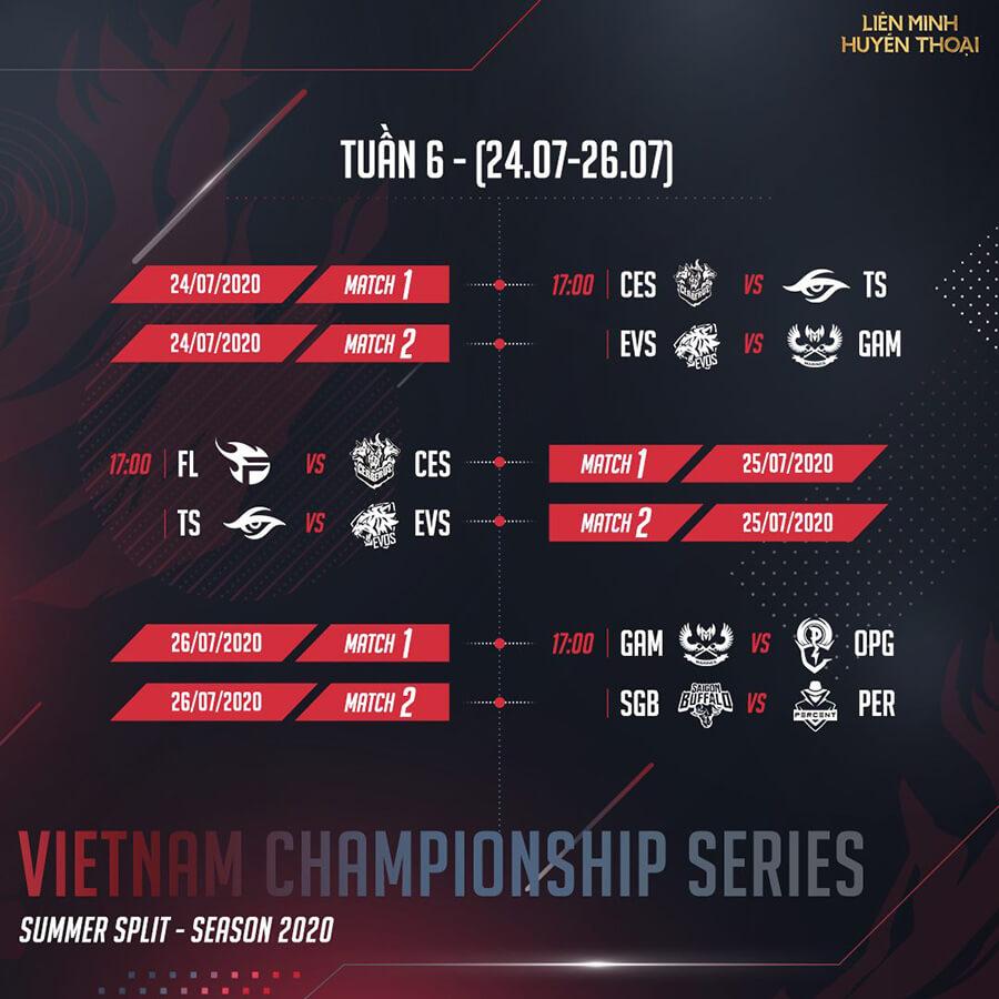 Lịch thi đấu vòng bảng VCS Mùa Hè 2020 Tuần 6